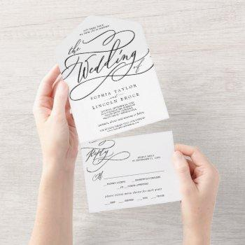 romantic calligraphy the wedding of all in one invitation