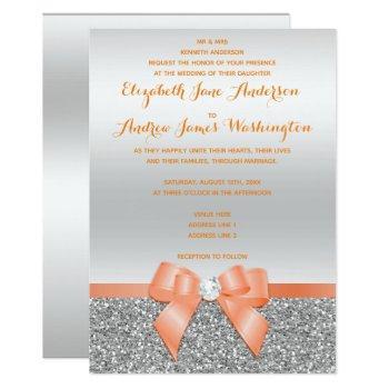 romantic coral bow & silver glitter wedding invitation