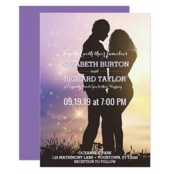 romantic couple beach wedding purple invitation