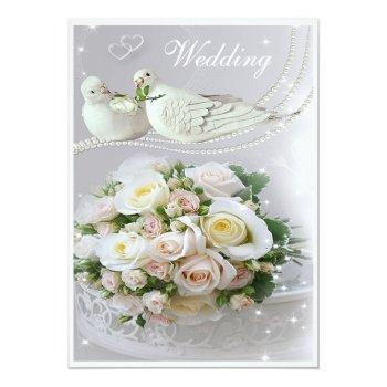 romantic doves, sparkles & roses wedding invitation