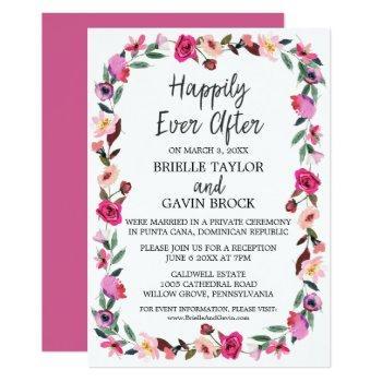romantic fairytale wreath elopement reception invitation