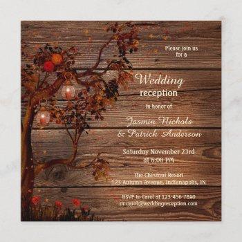romantic fall wedding reception only invitation