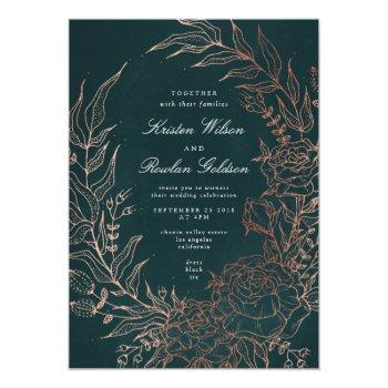 romantic flower wreath copper wedding invitation