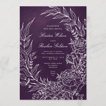 romantic flower wreath purple wedding invitation