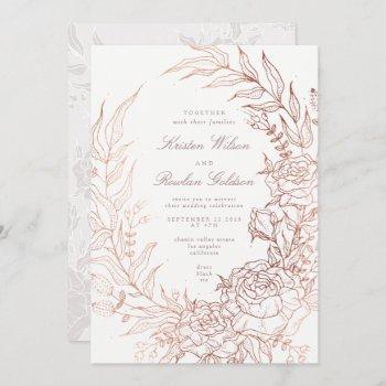 romantic flower wreath white wedding invitation
