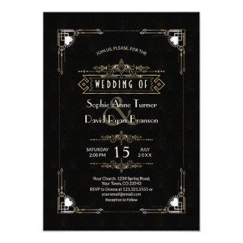 romantic gold black great gatsby art deco wedding invitation