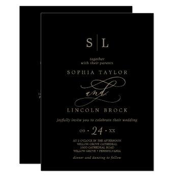 romantic gold calligraphy black all in one wedding invitation