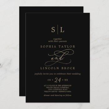 romantic gold calligraphy black all in one wedding invitation