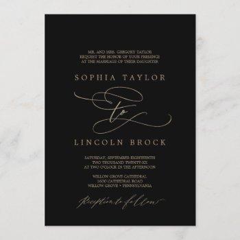 romantic gold calligraphy | black formal wedding invitation