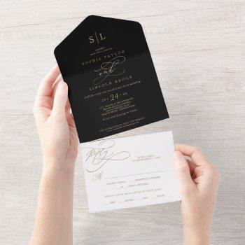 romantic gold calligraphy | black monogram wedding all in one invitation
