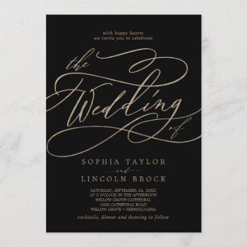 romantic gold calligraphy | black the wedding of invitation