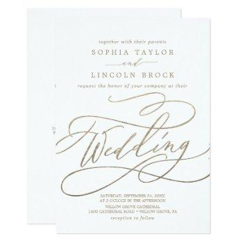 romantic gold calligraphy details on back wedding invitation