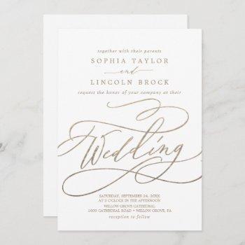 romantic gold calligraphy details on back wedding invitation