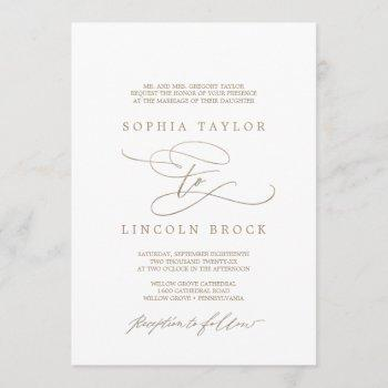 romantic gold calligraphy flourish formal wedding invitation