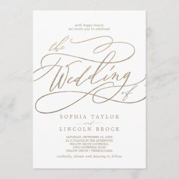 romantic gold calligraphy flourish the wedding of invitation
