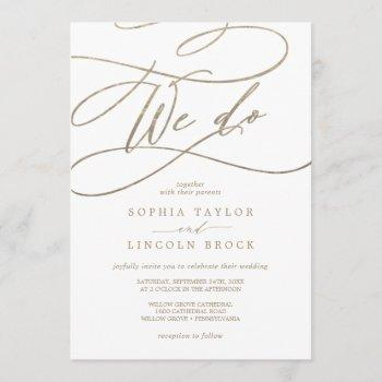 romantic gold calligraphy | flourish we do wedding invitation