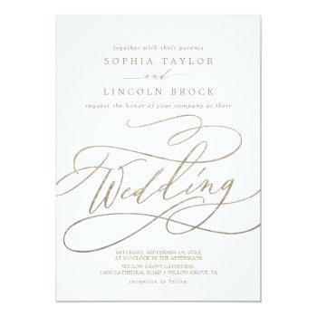 romantic gold calligraphy | flourish wedding invitation