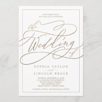 romantic gold calligraphy | frame the wedding of invitation