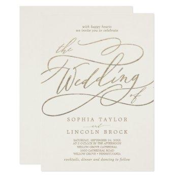romantic gold calligraphy | ivory the wedding of invitation