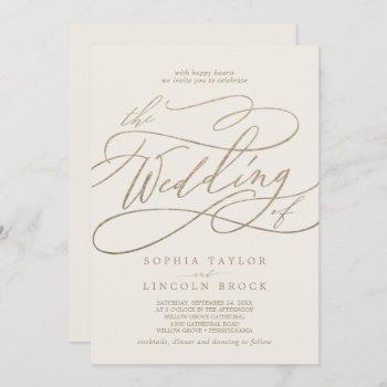 romantic gold calligraphy | ivory the wedding of invitation