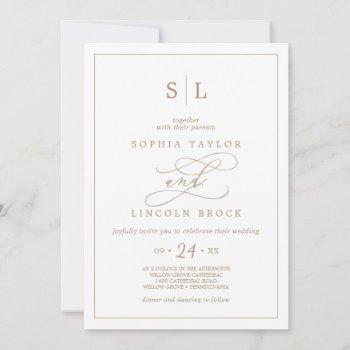 romantic gold calligraphy monogram wedding invitat invitation