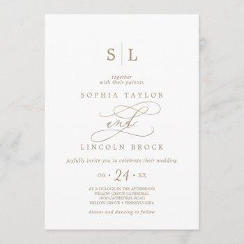 romantic gold calligraphy monogram wedding invitation