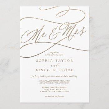 romantic gold calligraphy mr & mrs wedding invitation