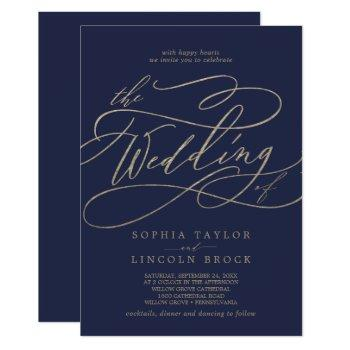 romantic gold calligraphy navy all in one wedding invitation