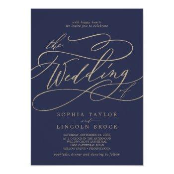 Small Romantic Gold Calligraphy Navy All In One Wedding Invitation Front View