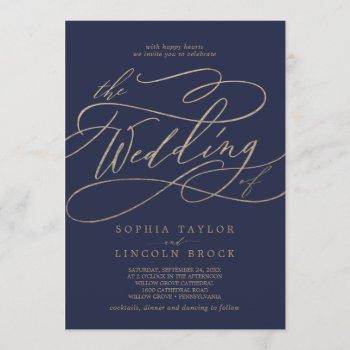 romantic gold calligraphy | navy the wedding of invitation