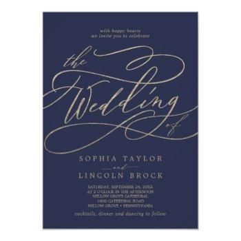 romantic gold calligraphy | navy the wedding of invitation