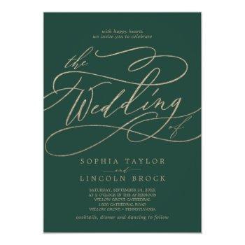 romantic green calligraphy flourish the wedding of invitation