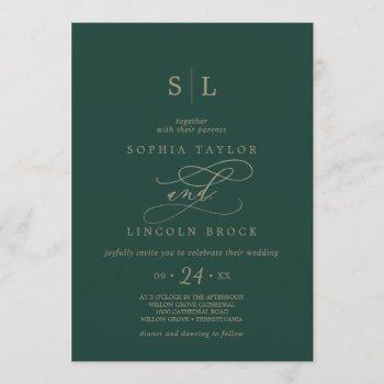 romantic green calligraphy monogram wedding invitation