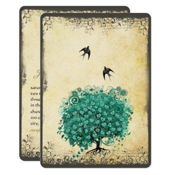 romantic heart leaf teal tree love bird wedding invitation
