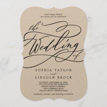 romantic kraft calligraphy flourish the wedding of invitation
