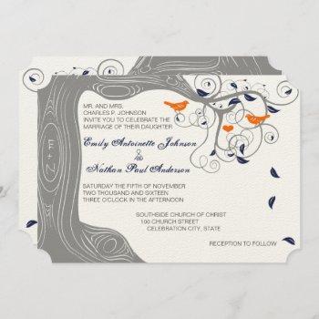 romantic love bird tree orange navy wedding invitation