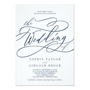 Small Romantic Navy Calligraphy All In One Wedding Invitation Front View