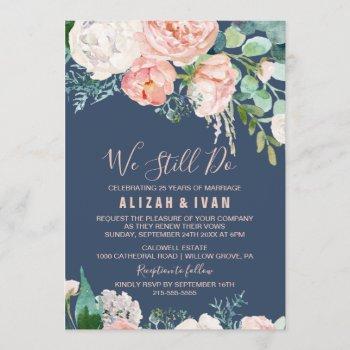 romantic peony flowers   blue vow renewal invitation