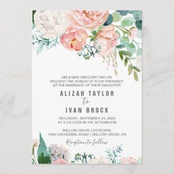 romantic peony flowers formal wedding invitation