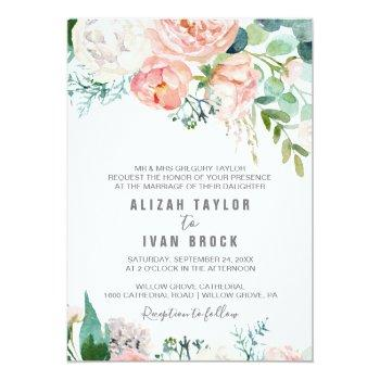 Small Romantic Peony Flowers Formal Wedding Invitation Front View
