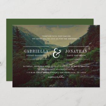 romantic pines, mountains & lake | modern wedding invitation