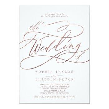 romantic rose gold calligraphy the wedding of invitation