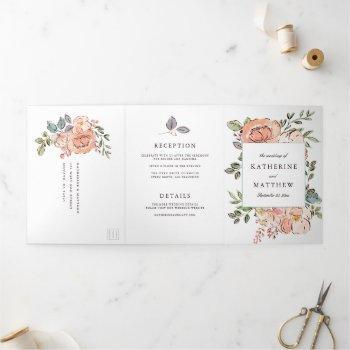 romantic sketchbook florals all-in-one wedding tri-fold invitation