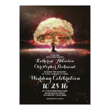 romantic string lights tree pink wedding invites