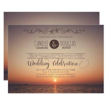 romantic sunset beach wedding invitation