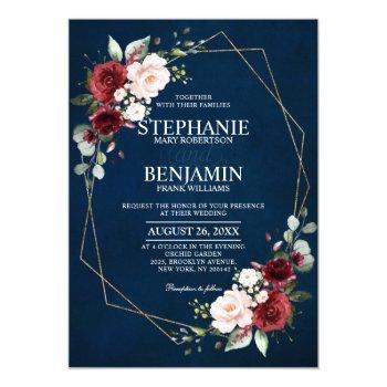 romantic watercolor burgundy navy floral geometric invitation