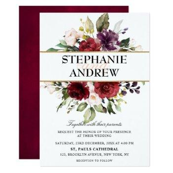 romantic watercolor burgundy red blush rose floral invitation