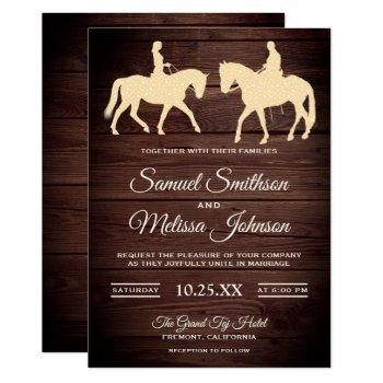 romantic western horse riders wedding invitation