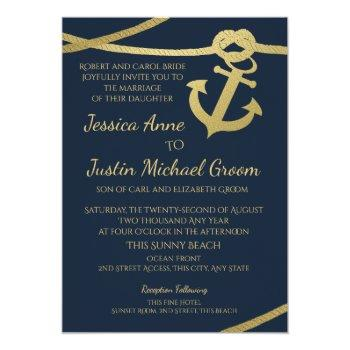 rope anchor gold and navy blue wedding invitation