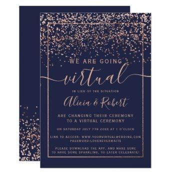 rose gold confetti chic navy blue virtual wedding invitation